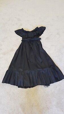Formal, ball, party 1980s vintage long black taffeta evening dress size UK 14