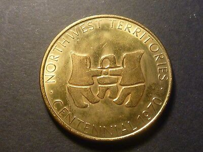 1970 Northwest Territories centennial brass medal, 32 mm