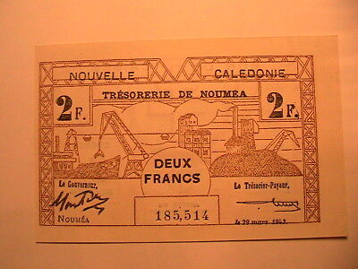1943 New Caledonia 2 Francs Choice AU Crisp French Colonial WWII Paper Money