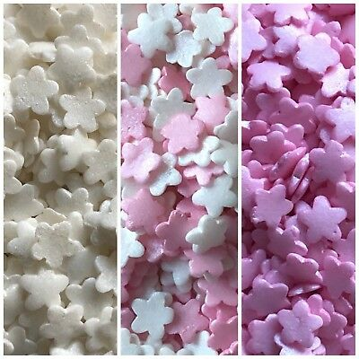 25g Pink White Glimmer Edible Flowers Cake Cupcake Decorations Sprinkles