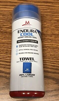 "Mission Endura Cool Instant Cooling Blue Coolcore Towel Sz Large 13"" x 37""  New"
