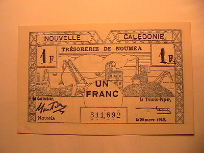 1943 New Caledonia 1 Franc Choice CU Crisp Note French Colonial WWII Paper Money