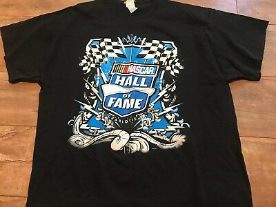 NASCAR Racing Hall of Fame Charlotte Blue Graphic T Shirt Size (2XL) Black