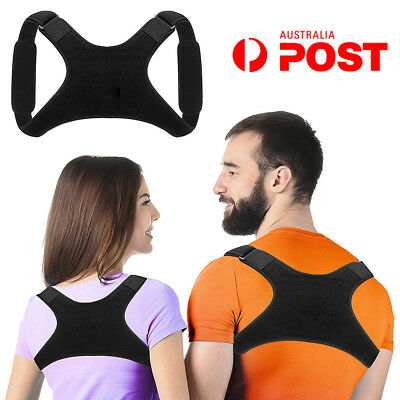 Adjustable Therapy Posture Corrector Support Back Pain Belt Brace Shoulder Black
