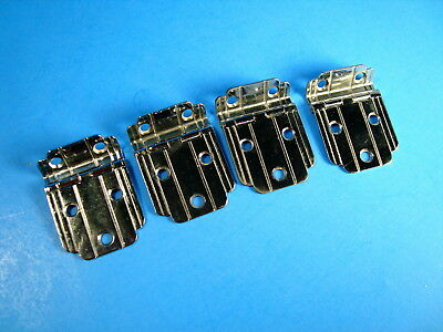 """4 Vintage Chrome Cabinet Hinges 3/8"""" Offset With Lines Cupboard Hinges Hardware"""