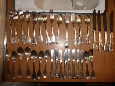 34 Pieces Reed & Barton Silver Tablespoon Serving Knives Forks Spoons
