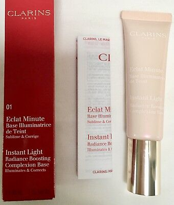 CLARINS 01 Rose Instant Light Radiance boosting Complexion Base Primer New 30ml