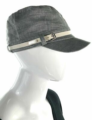 7539965199c Calvin Klein Womens 68440 Cotton Chambray Newsboy Hat Grey ONE SIZE Belted  NWT