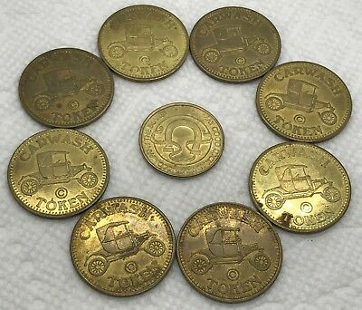 VINTAGE CAR WASH and GOOD LUCK TOKEN COINS - LOT OF 9 - HORSESHOE