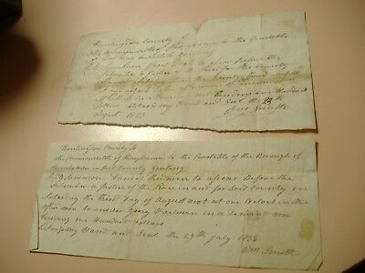 Huntingdon County Pa. historical Documents signed by Wm Smith 1823/33 Rare!