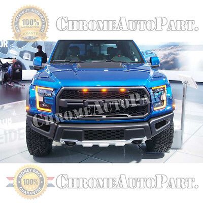 For 2015 2017 Ford F150 Raptor Style Front Grille Honeycomb Grill Grey W Led