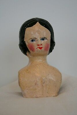 "Antique Wood Grodnertal Doll Shoulderplate Head Only Germany 4.5"" Tall Good Cond"