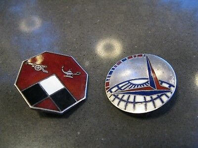 2 x WWII US Sterling Silver Military and Air Force Pins / Badges