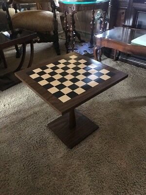 Vintage Danish Modern End Table Checker Board Top Square Side Table