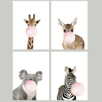 Cute Elephant Deer Zebra Fox Wall Canvas Painting Posters Wall Pictures Decor L