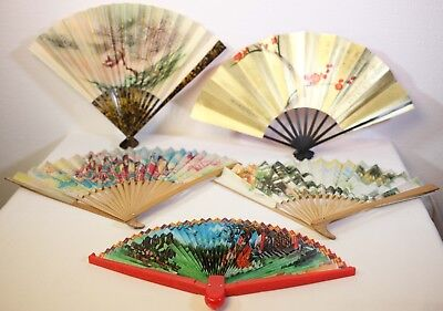 5 Vintage Oriental Hand Fans-3 Wooden-1 Paper-1 Plastic-Used-Free Postage World