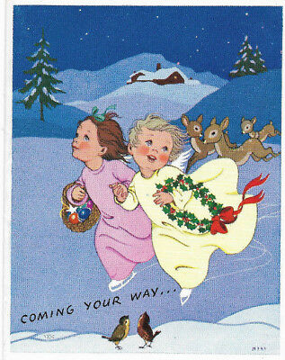 Vintage 1960s Children Skating with Deer Beautiful Glossy Christmas Card