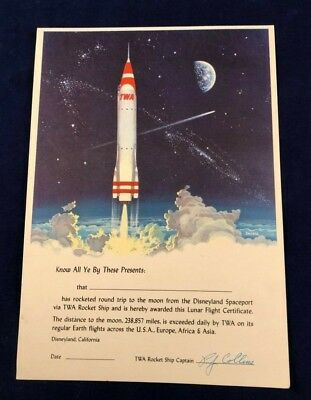 DISNEYLAND SPACEPORT 1950s TWA ROCKET SHIP TO THE MOON LUNAR FLIGHT CERTIFICATE