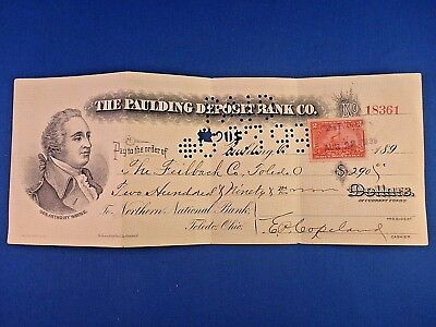 1899~THE PAULDING DEPOSIT BANK CO. CANCELLED CASHIER CHECK WITH 2c REVENUE STAMP