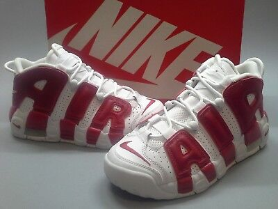 New Nike Air More Uptempo White Varsity Red 415082-100 Pippen GS Boys Black a3cafcc37d
