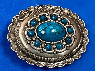 Western Faux turquoise round cowgirl cowboy Belt Buckle