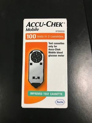 Brand New MOBILE ACCU-CHEK 100 TESTS in 2 Cassettes (Late Expiry)** GENUINE**