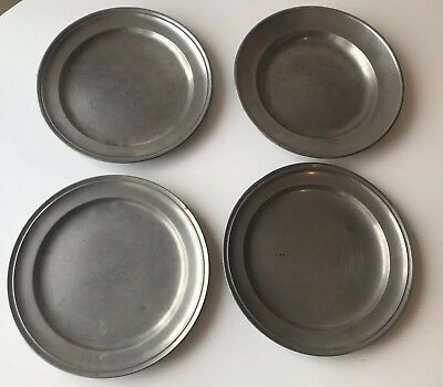 4 Pewter? Plates SWISS?USA? Antique VTG Touchmarks Hallmarks SIGNED 1824 Initial
