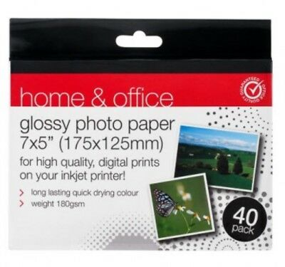 """Glossy Photo Paper 40 Pack - 7 x 5"""" (175 x 125mm) 180gsm Quick Drying Colour UK"""