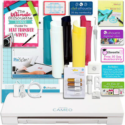 Silhouette Cameo 3 Bluetooth Bundle with Pixscan, Guide, Class, Pens, Heat Trans