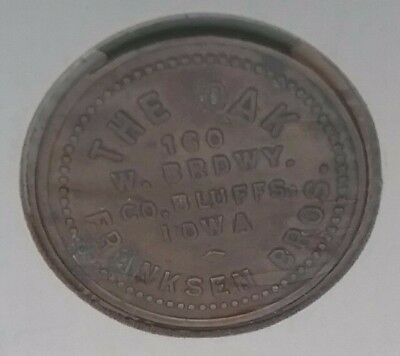 The Oak trade token, good for 5 cents in merchandise, Council Bluffs, Iowa Ia