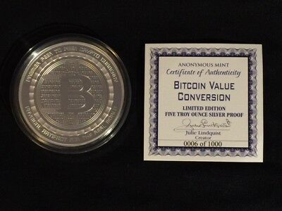 **(#0006 of 1,000)**  5 oz. .999 Silver Proof Round Bitcoin Value Conversion