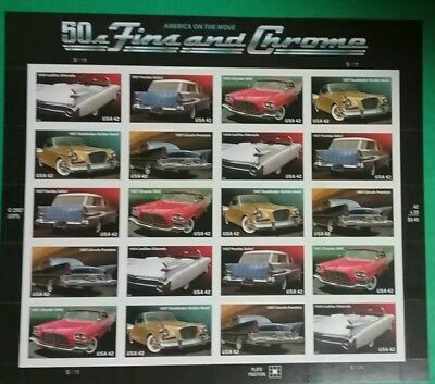 USA Scott 4353-57 (4357a) '50s Fins and Chrome - Mint Sheet of 20/42c Stamps