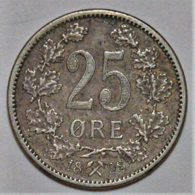 NORWAY 1898 BETTER DATE 25 ORE - NICE SILVER COIN - .99c START - NO RESERVE!!!