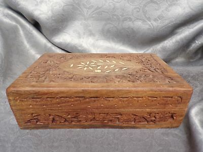 Hand Crafted Hand Carved Cigar Box - Trinket Case - Jewelry & Treasures Box