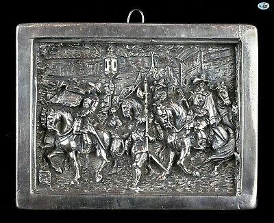 """Antique Henryk Winograd """"Three musketeers"""" HW .999 Silver Repoussé Icon Plaque"""