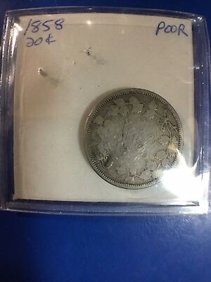 "1858 Canada Canadian Twenty 20 Cents Coin Uncertified ""Poor/Almost Good"""