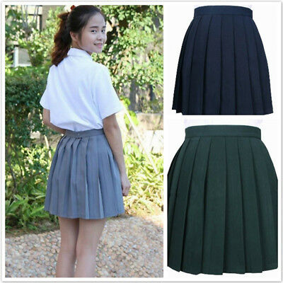 Japanese Solid Color Pleated Skirt Cos Skirt Students Fashion High Waist Skirt L