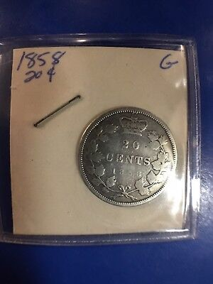 "1858 Canada Canadian Twenty 20 Cents Coin Uncertified ""Good"""