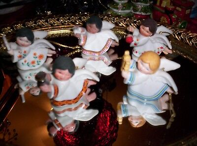 """Vintage Small Angel Ornaments Set Of Five """"peace On  Earth"""" Series"""