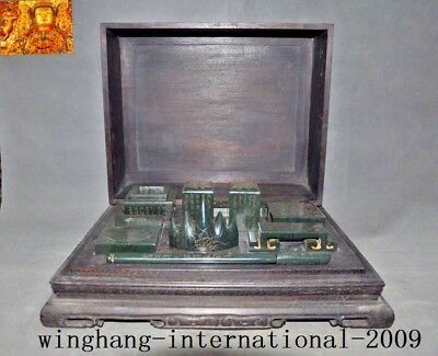 "15""Chinese dynasty natural Hetian old jade carved Wenfang Sibao Rosewood Box set"
