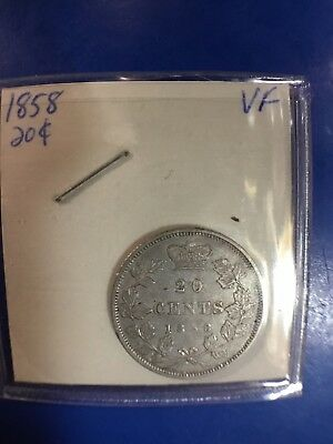 "1858 Canada Canadian Twenty 20 Cents Coin Uncertified ""Very Fine"" #2"