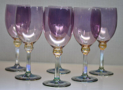 Vintage Tri-Color Crystal Wine Glasses By Rainbow Glass (Italy) Set Of (6)