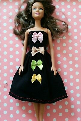 NEW ~ Barbie doll coloured bows trimmed dress. Lovingly handmade