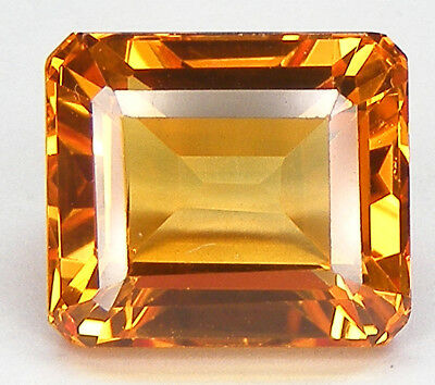 8,91CT. TRES BEAU T. EMERAUDE 11,7x10,2 MM. SAPHIR JAUNE ORANGE DE SYNTHESE