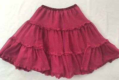 Hanna Andersson Size 120 (6-7 years) Pink Polka-dot Tulle Lined Tiered Skirt