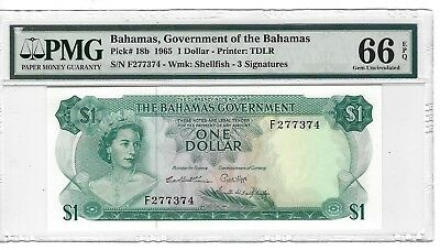 P-18b 1965 1 Dollar, Government of the Bahamas, PMG 66EPQ GEM +