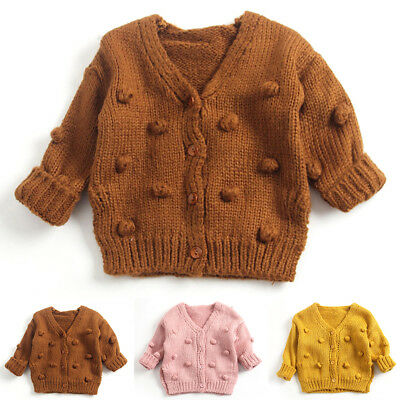 Children Baby Kids Girl Knitted Sweater Cardigan Solid Color Tops Outfit Clothes