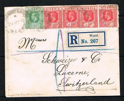 nigeria 1916 GV 1/2d + 1d X 4 on registered [WARRI] cover to switzerland