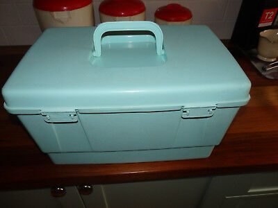 """Mint Green """" Nally """" Sewing Box with insert tray.. Lots of sewing items."""