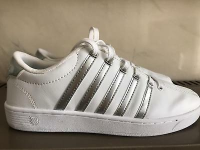 *Almost Brand New* K-Swiss White/Silver Sneakers Size 5 UK